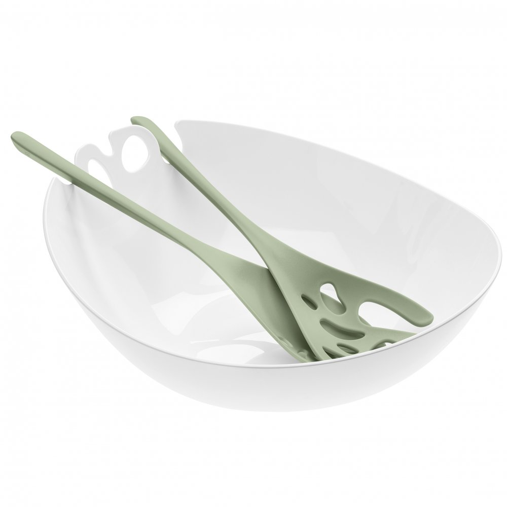 SHADOW Salad Bowl with servers 3,5l cotton white-eucalyptus green