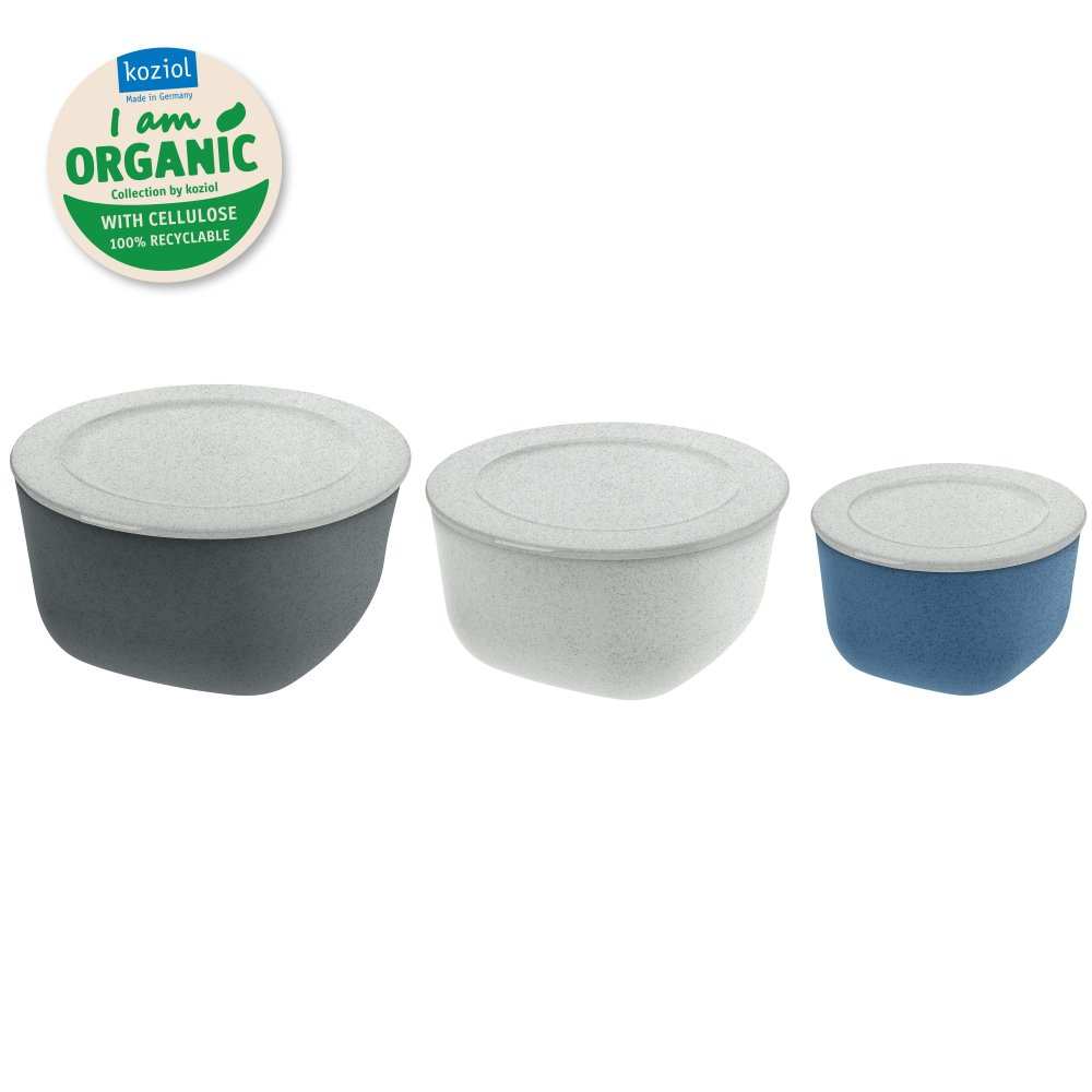 CONNECT ORGANIC Box with lid, Set of 3 Set of 3 organic deep blue/organic deep grey/organic grey
