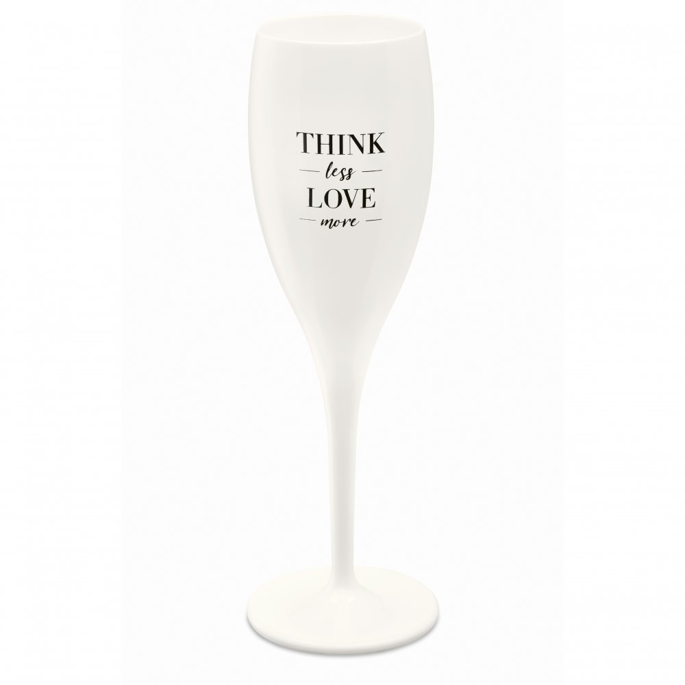 CHEERS NO. 1 THINK LESS LOVE MORE Superglas 100ml with print cotton white
