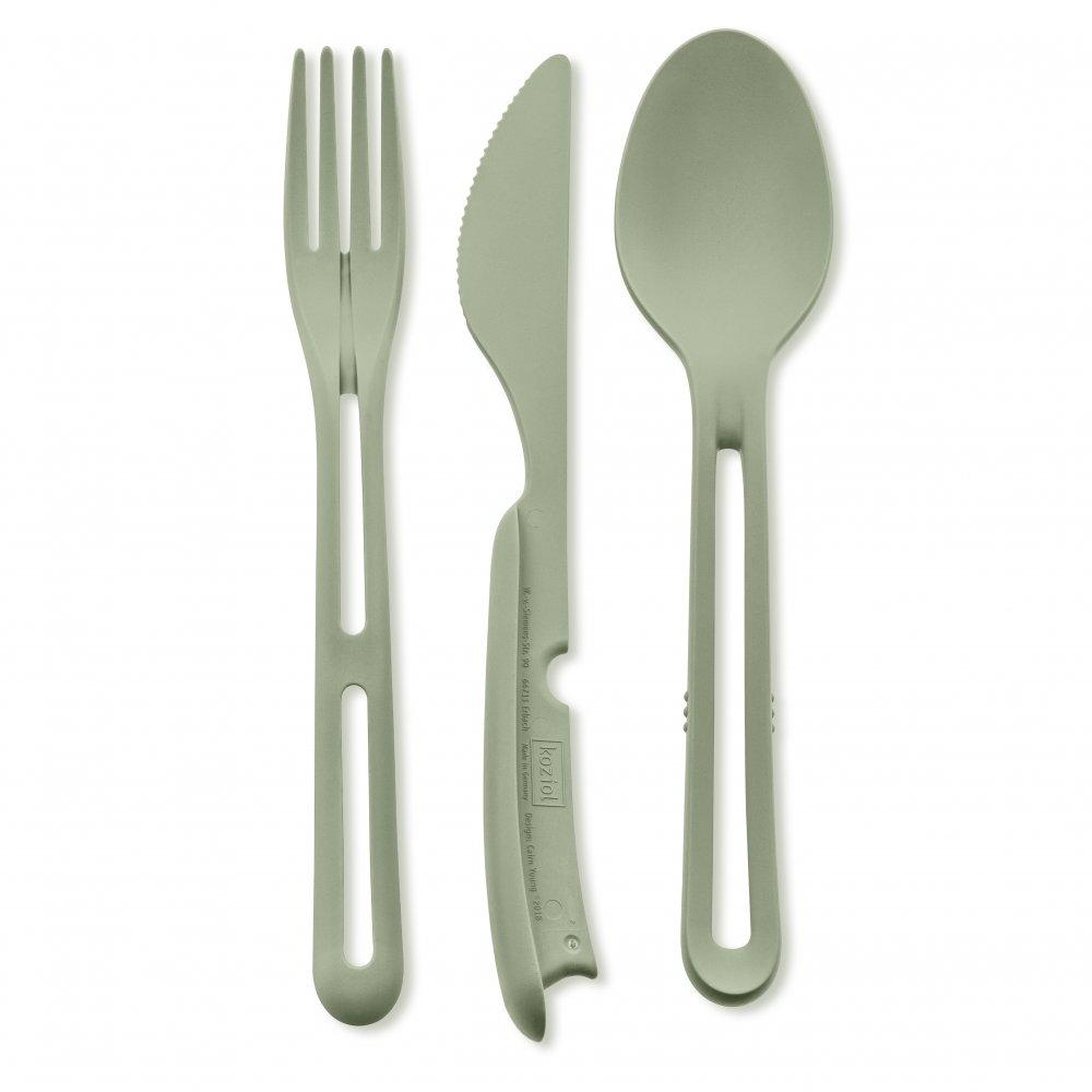 KLIKK Cutlery Set 3-piece eucalyptus green