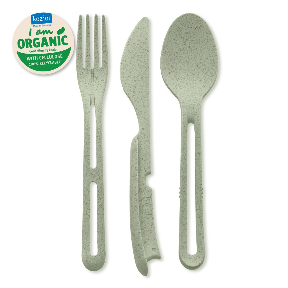 KLIKK ORGANIC Cutlery Set 3-pieces organic green