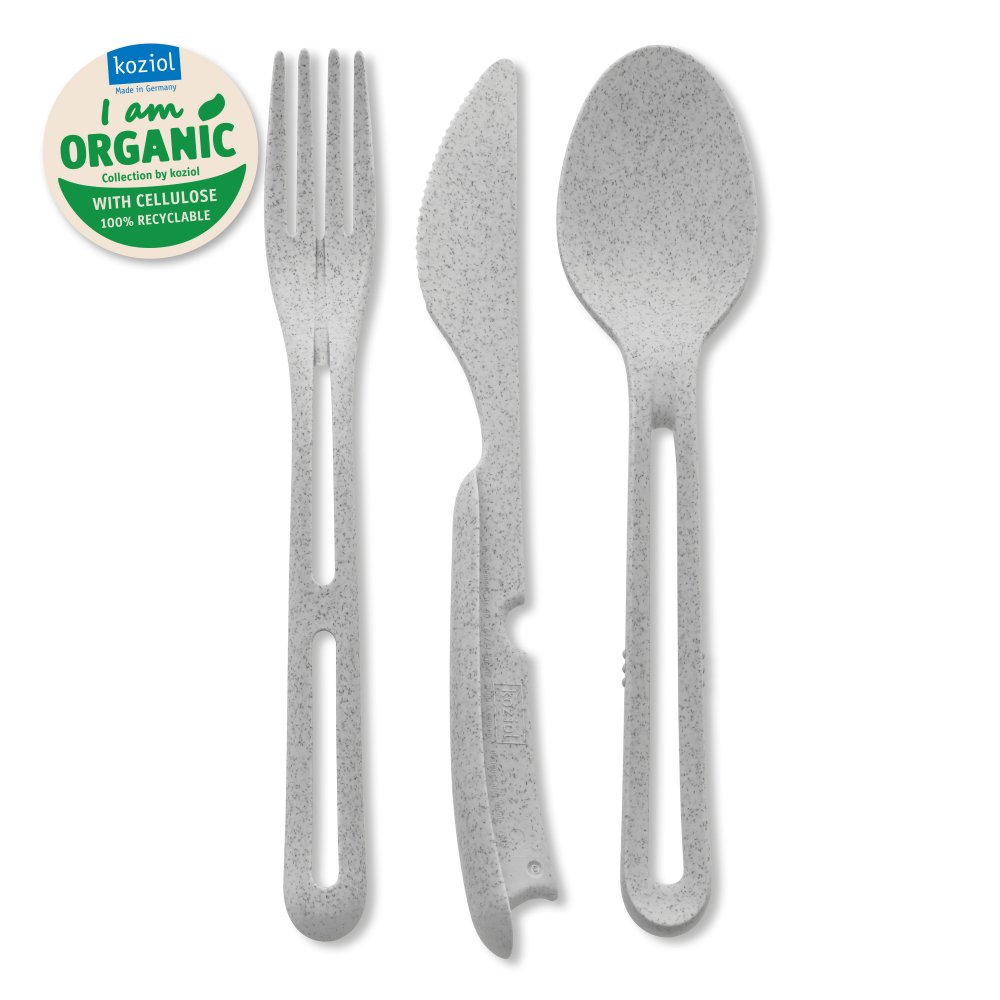 KLIKK ORGANIC Cutlery Set 3-pieces organic grey