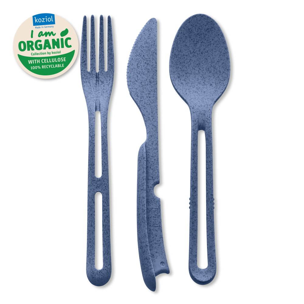 KLIKK ORGANIC Cutlery Set 3-pieces organic blue