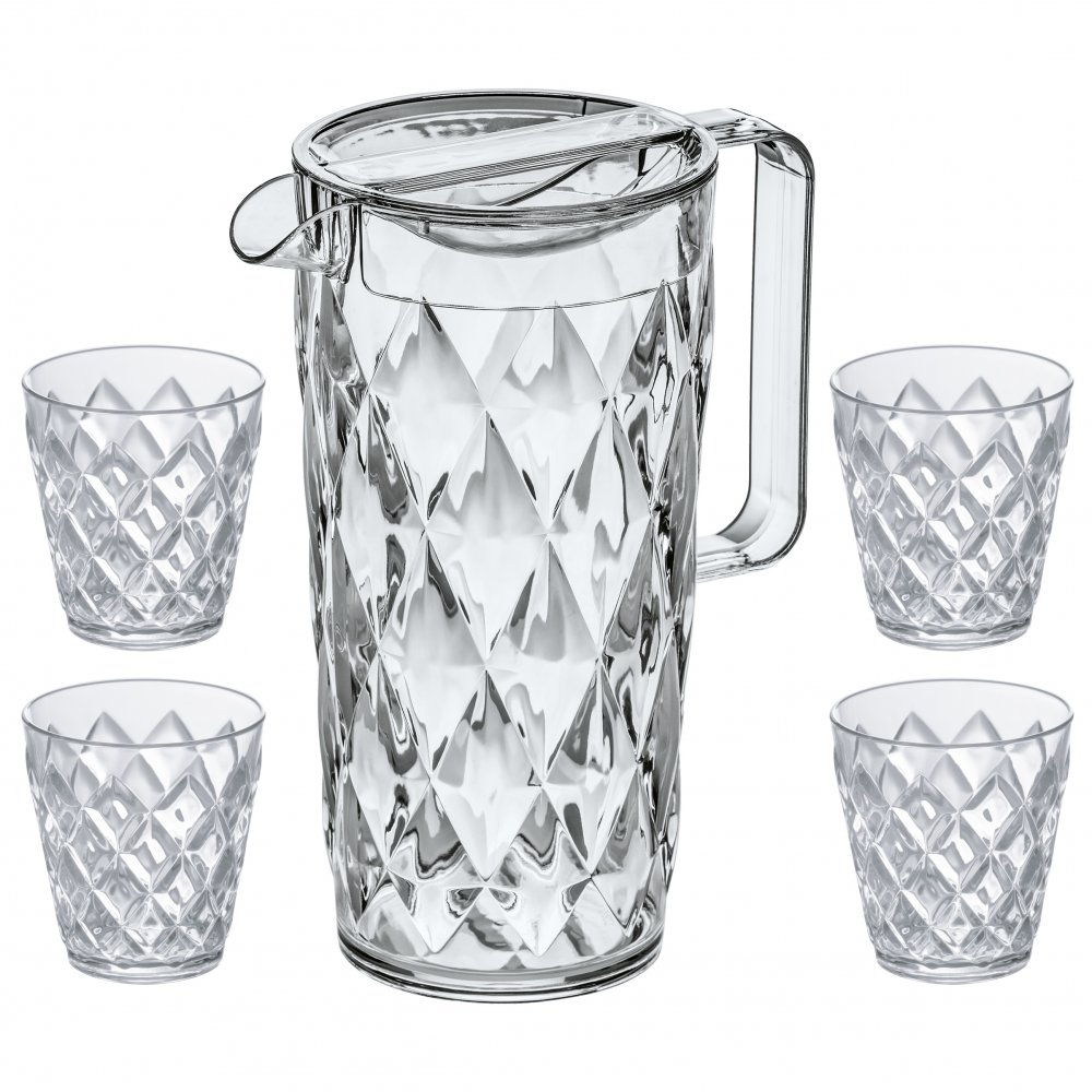 CRYSTAL Pitcher 1,6l + 4 Tumbler crystal clear