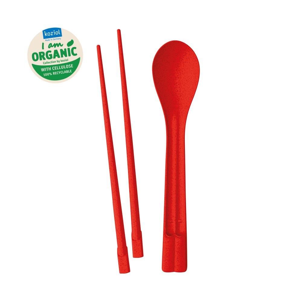 DYNASTY Essstäbchen-Löffel-Set organic red
