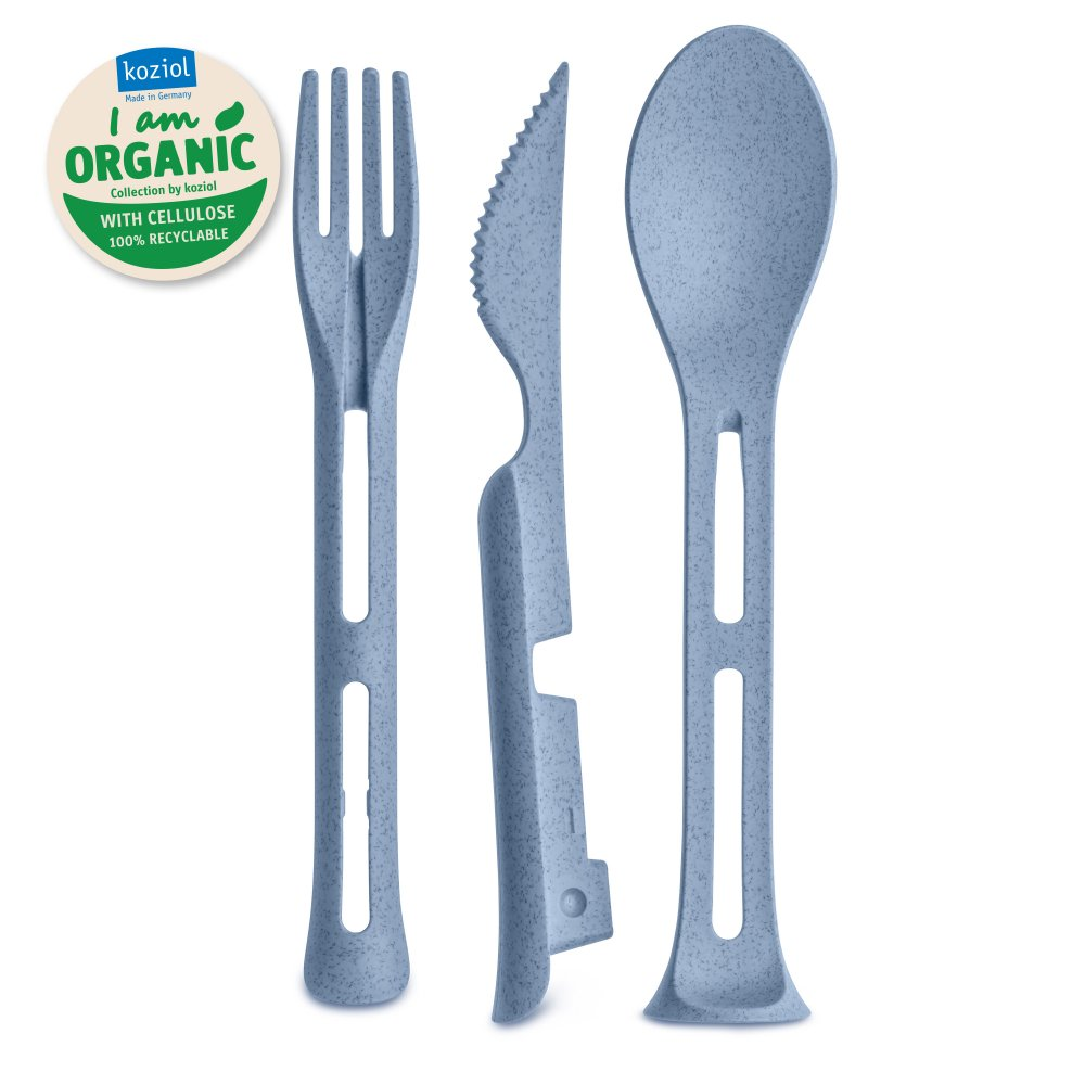 KLIKK POCKET ORGANIC Cutlery Set 3-pieces organic blue