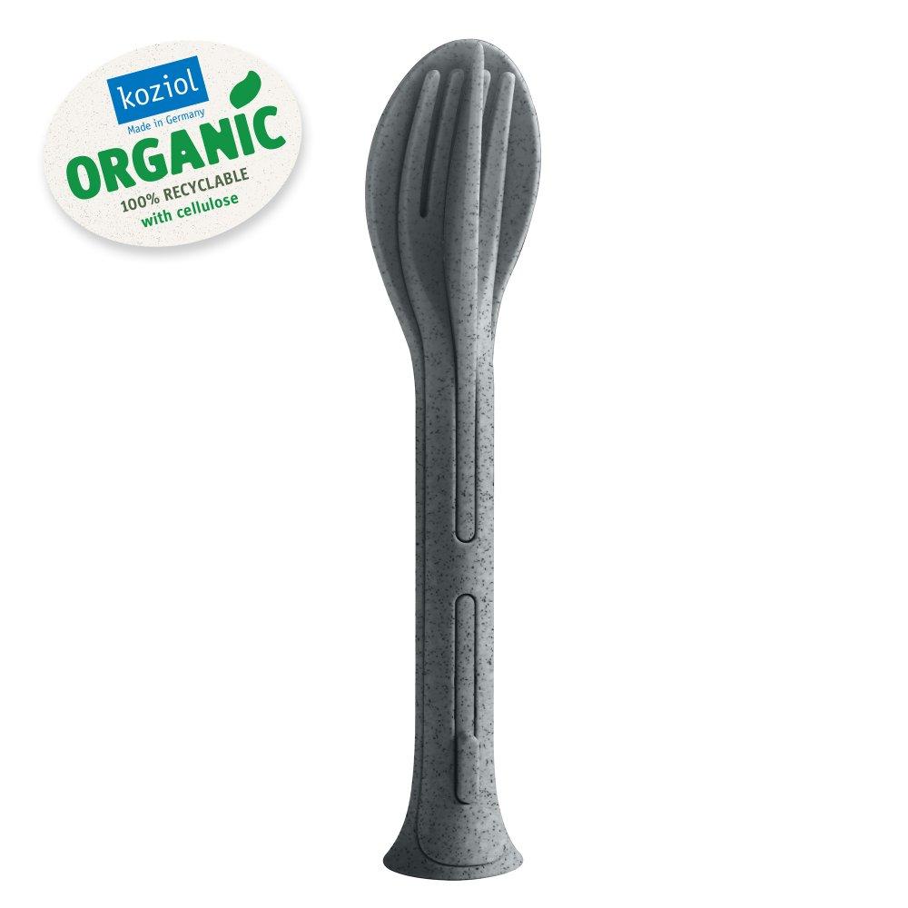KLIKK POCKET ORGANIC Besteck-Set 3-teilig organic deep grey