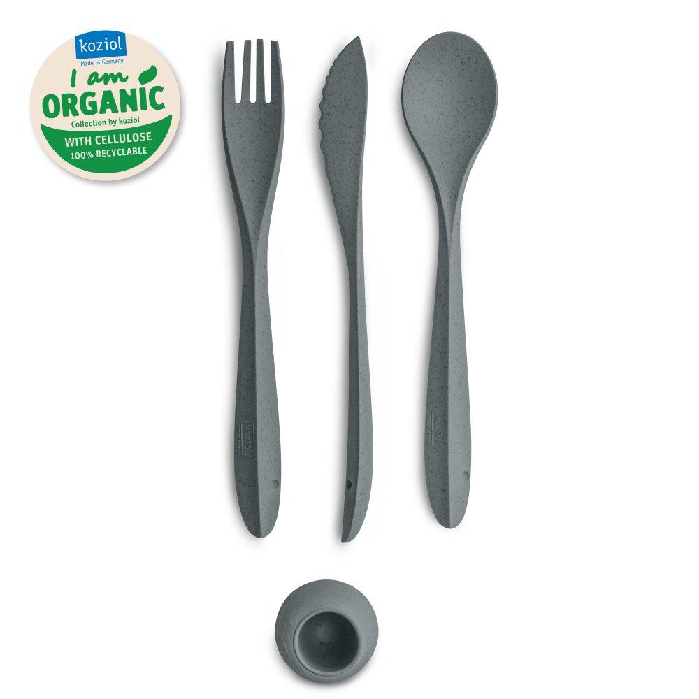 TULIP ORGANIC Besteck-Set 4-teilig organic deep grey