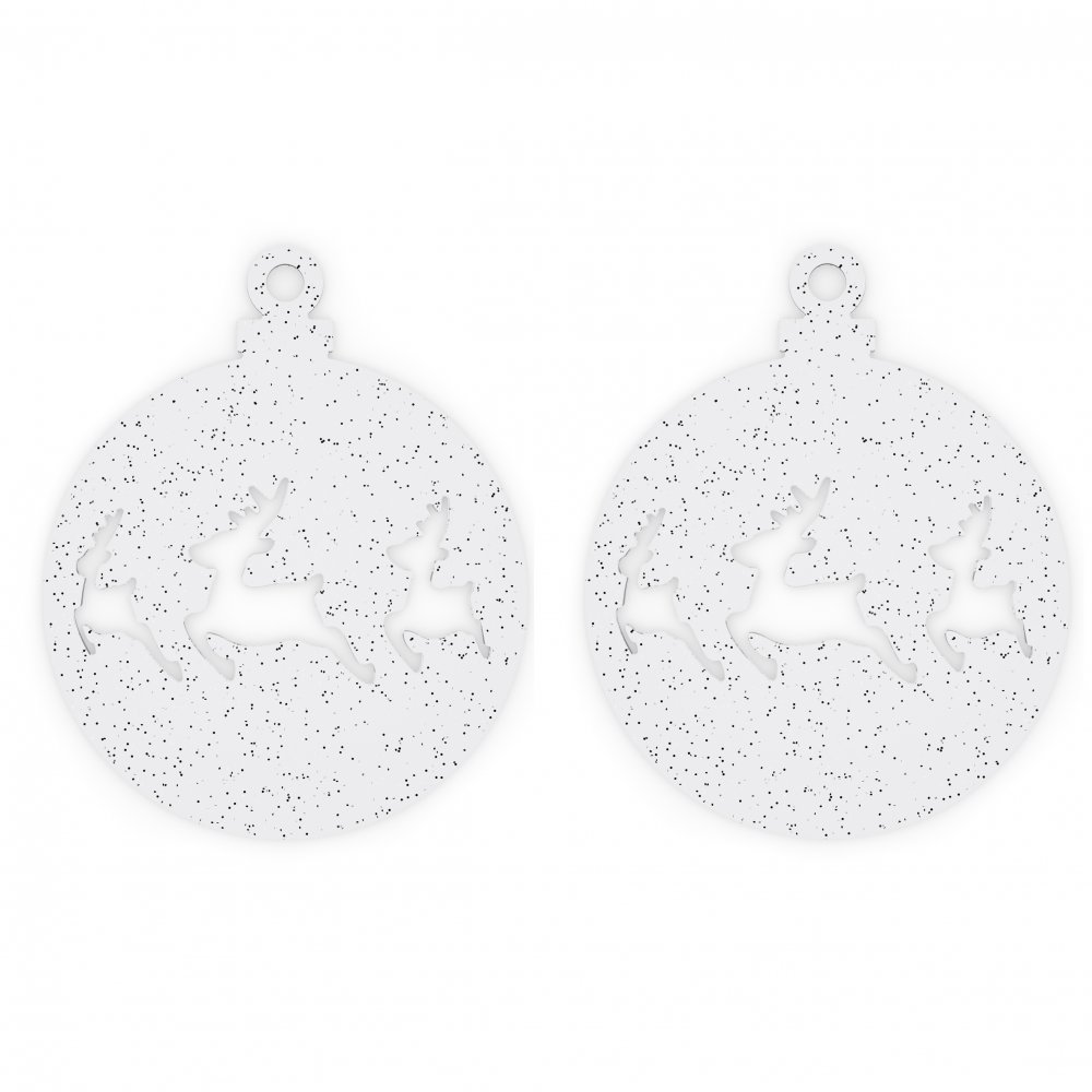 DEER Christmas Ornament Set of 2 clear with silver glitter