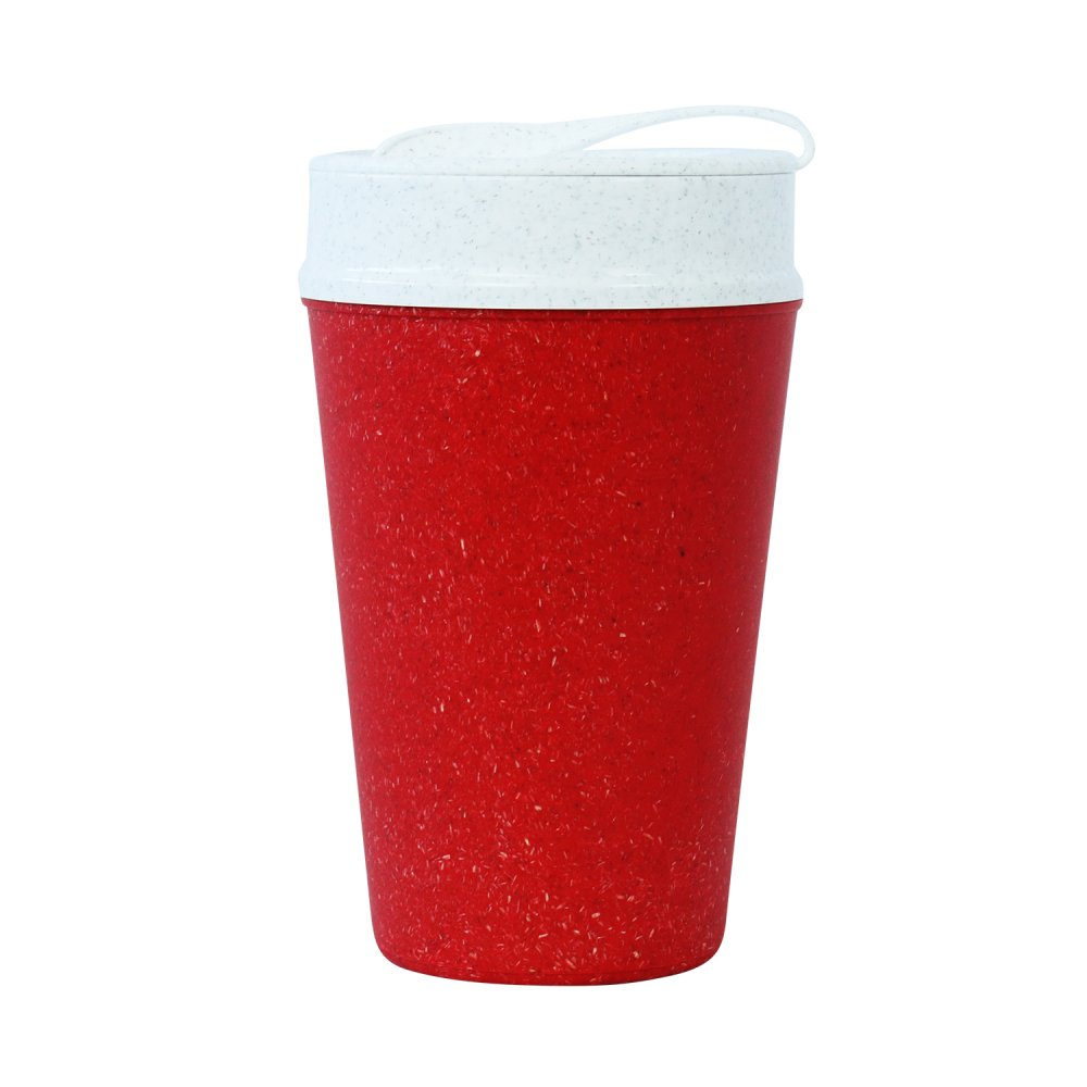 ISO TO GO Double walled Cup with lid 400ml organic red