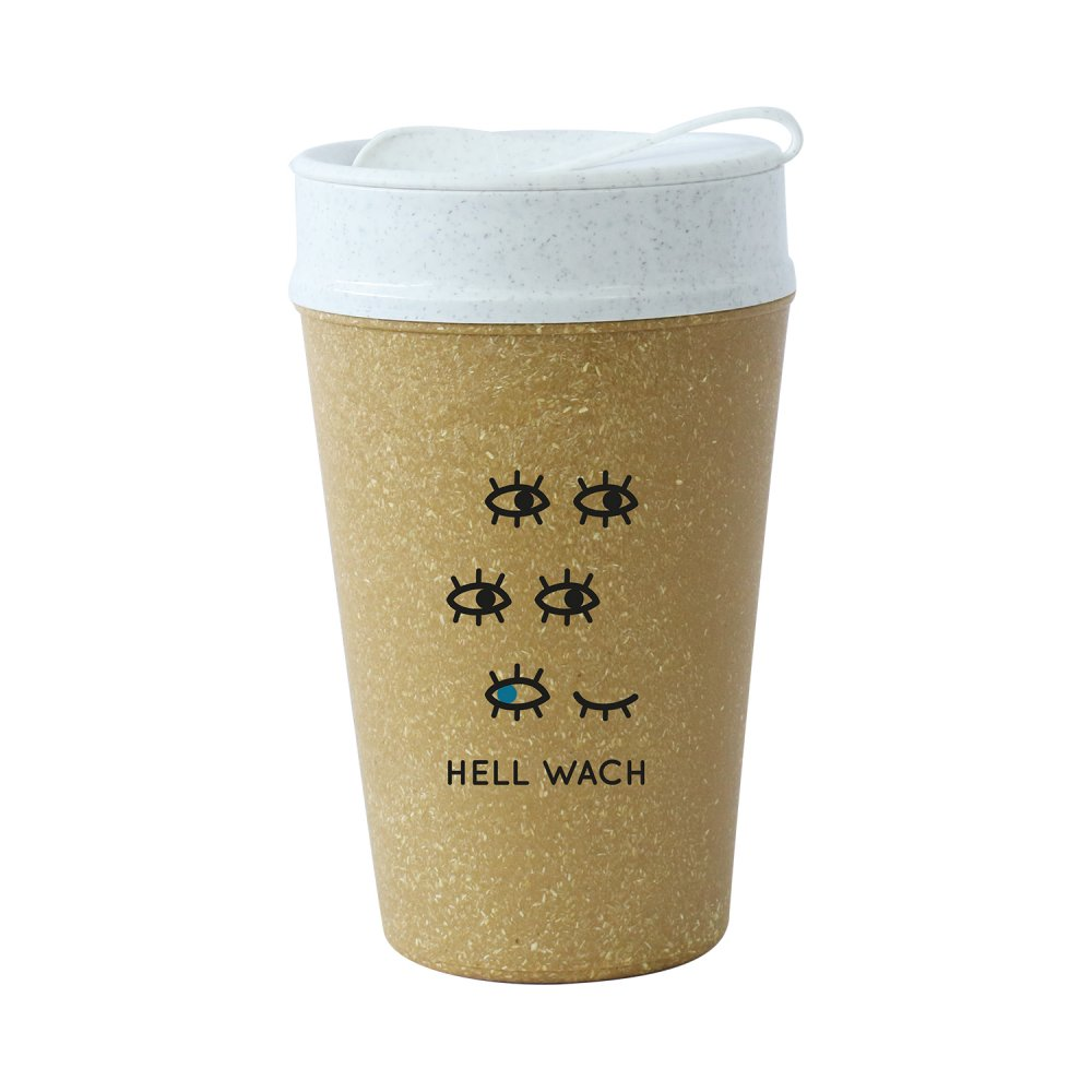 ISO TO GO HELL WACH Double walled Cup with lid 400ml RECYCLED NATURE/org.white