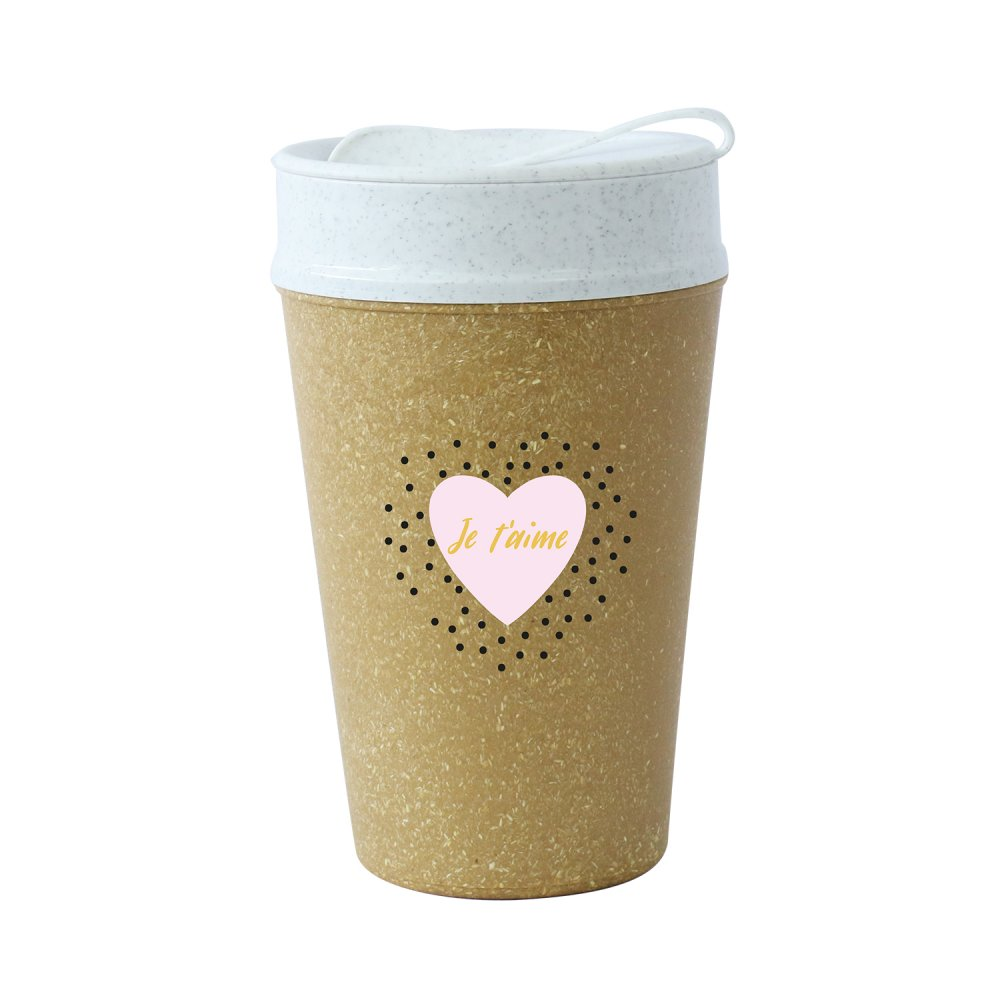 ISO TO GO JE TÁIME Double walled Cup with lid 400ml RECYCLED NATURE/org.white