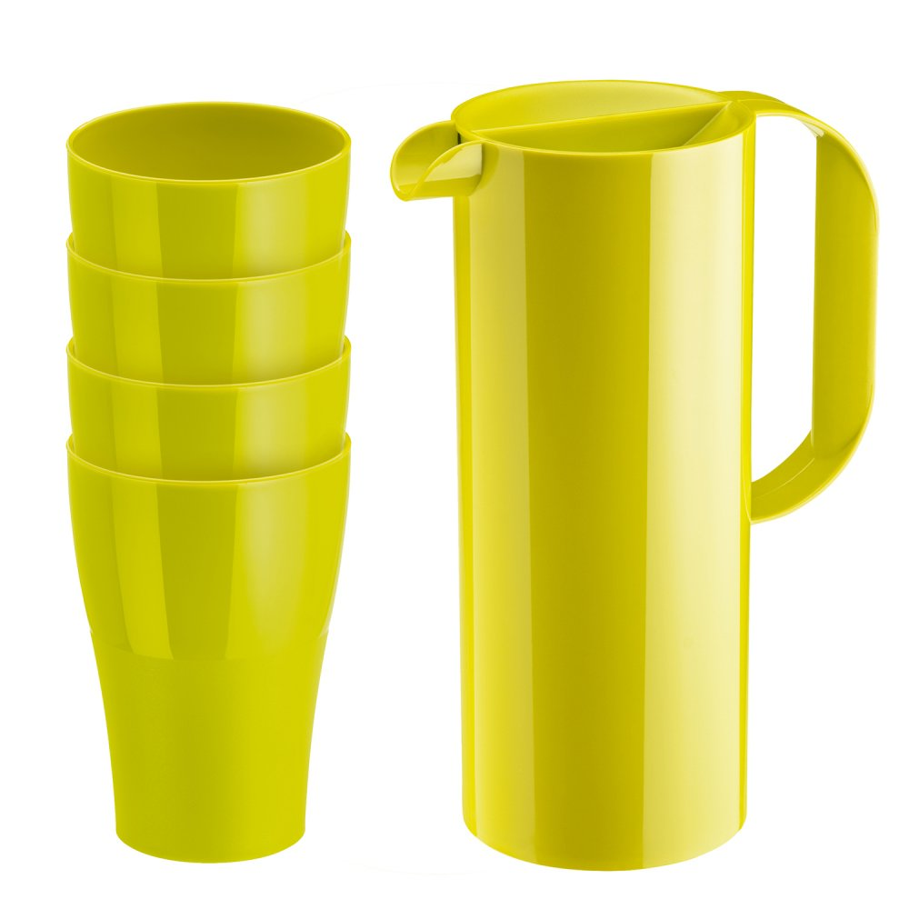 RIO & ROY Set Juice Pitcher 1,35l with 4 tumblers mustard green