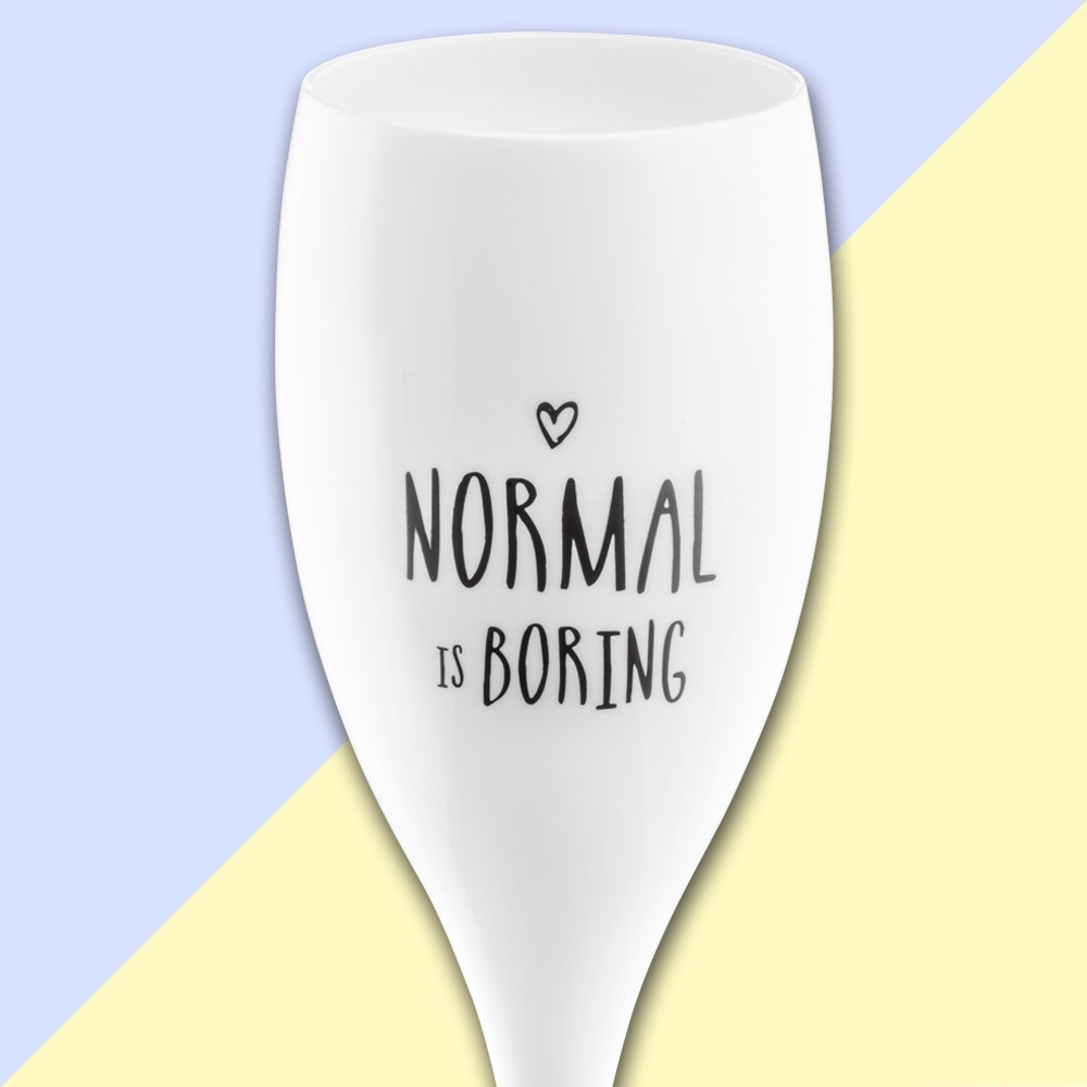 CHEERS NO. 1 NORMAL IS BORING Superglas 100ml with print