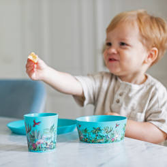 KIDS SET JUNGLE Kleiner Teller + Schale + Becher