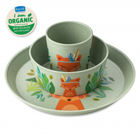KIDS SET HARRY Kleiner Teller + Schale + Becher 3er-Set organic green