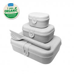 PASCAL READY ORGANIC Lunchbox-Set + Besteck-Set organic grey