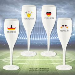 CHEERS NO. 1 FUSSBALL WM Superglas 100ml Set 4 bedruckte Motive