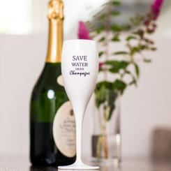 CHEERS NO. 1 SAVE WATER DRINK CHAMPAGNE Superglas 100ml with print