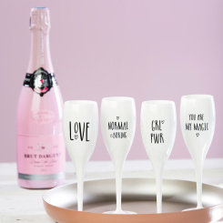 CHEERS DONT FORGET TO BE AWE Champagne Glass with print