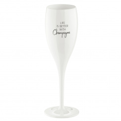 CHEERS NO. 1 LIFE IS BETTER WITH CHAMPAGNE Superglas 100ml with print cotton white