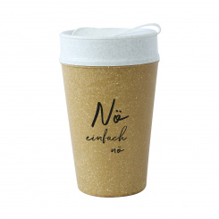 ISO TO GO NÖ Double walled Cup with lid 400ml RECYCLED NATURE/org.white