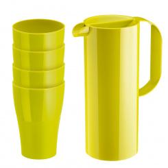 RIO & ROY Set Kanne 1,35ml mit 4 Bechern 400ml mustard green
